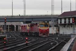 N457 and A66 shunting around the carriage yard at Southern Cross Stationn