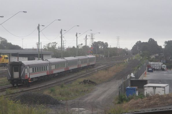 Five car carriage set at North Dynon, the locomotive mid runaround but nowhere to be found