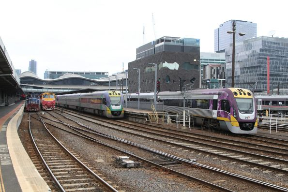 Y129, N466, VLocity VL20 and VL07 lined up at Southern Cross