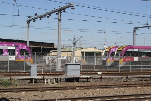 Stabled VLocity units at Melbourne Yard