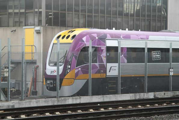 Brand new VLocity VL67 stabled in the train wash siding at Dudley Street