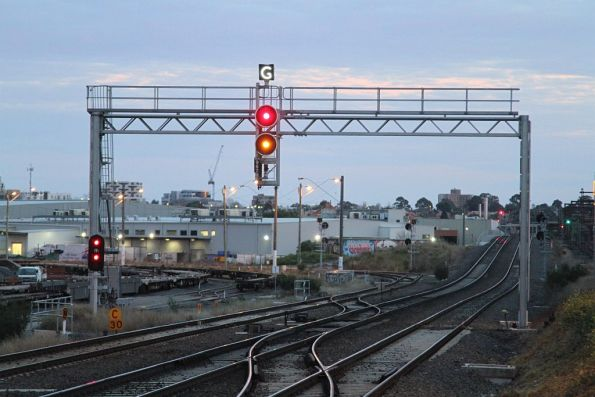 Signal cleared for a down RRL train to access the goods lines at South Kensington