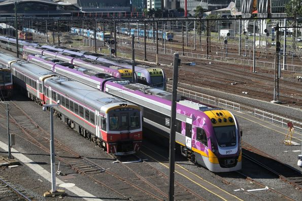 VLocity VL72 and Sprinter 7021 in the railcar sidings at Southern Cross