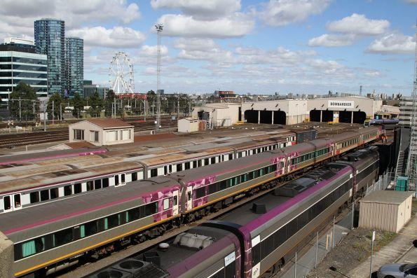 Carriage sets stabled in the yard at Southern Cross
