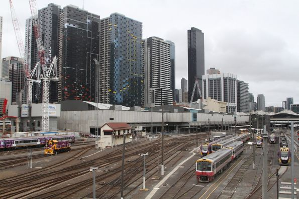 Trains stabled for the weekend at Southern Cross Station