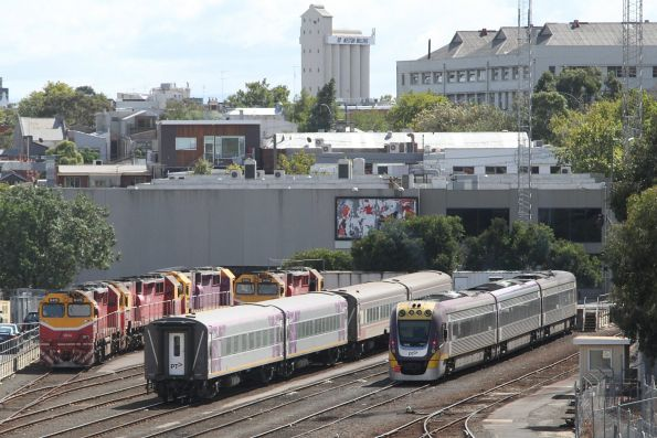 Spare BZN and BTN carriages stabled in the sidings at Dudley Street