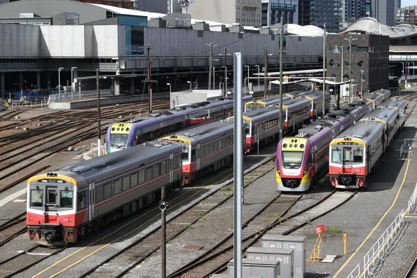 Sprinter and VLocity units stabled for the weekend at Southern Cross
