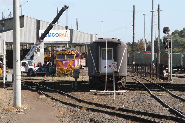 N457 under repair at the Gemco sheds at South Dynon, with BRN56 stabled alongside