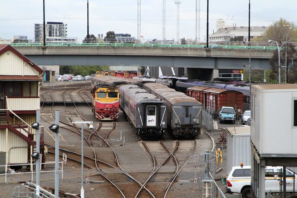 N456 stabled beside carriage sets FN04 and VSH25 in the Bank Sidings at Southern Cross