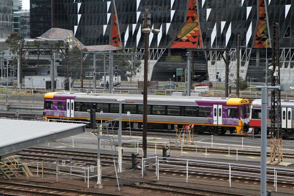 Sprinter 7012 freshly repainted into PTV livery in the railcar yard at Southern Cross