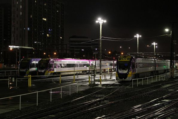 VLocity VL39, VL62 and VL01 stabled in the railcar yard at Southern Cross