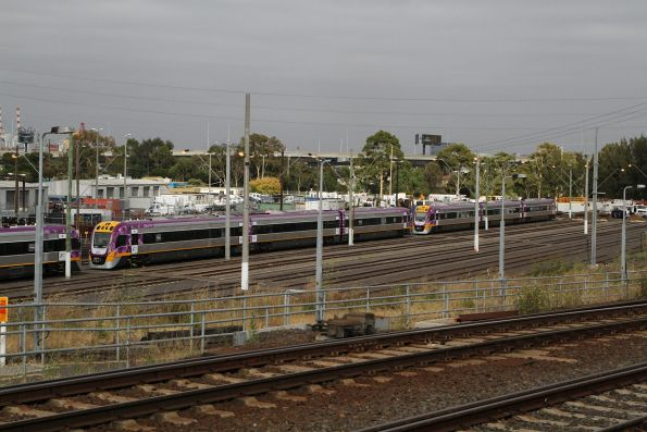 Brand new VLocity sets VL76, VL77 and VL78 stabled at the Wagon Storage Yard