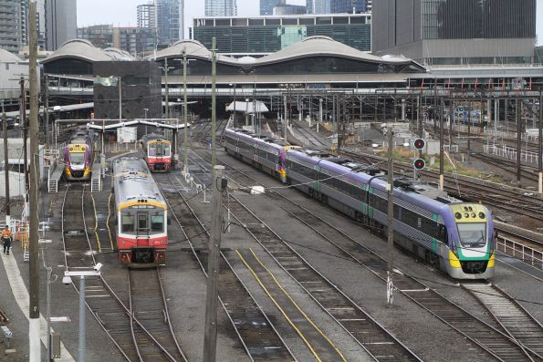 VLocity and Sprinter units in the railcar depot at Southern Cross