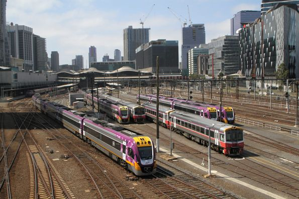 VLocity VL19 and classmate departs Southern Cross on the down