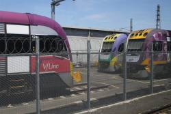 All three VLocity livery versions at Melbourne Yard