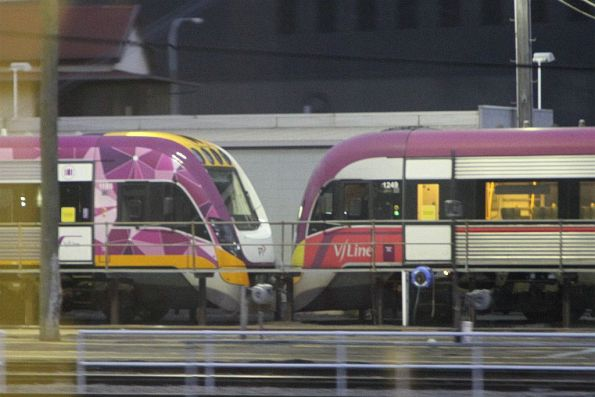 New design VLocity train coupled to VLP Mk3 liveried VL49