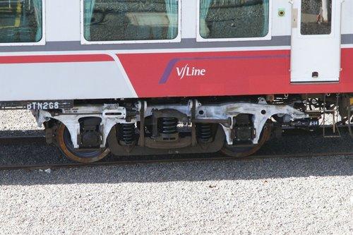 Refurbished bogie beneath carriage BTN268