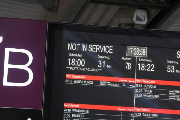 'Platform 7 closed' message at Southern Cross following the derailment