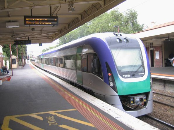 New VLocity set VL08 on a test run between Geelong and Melbourne runs through Newport station