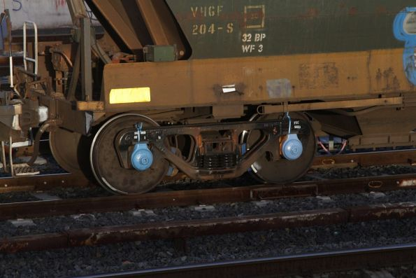 Plastic strapping still in place on a freshly overhauled set of bogies