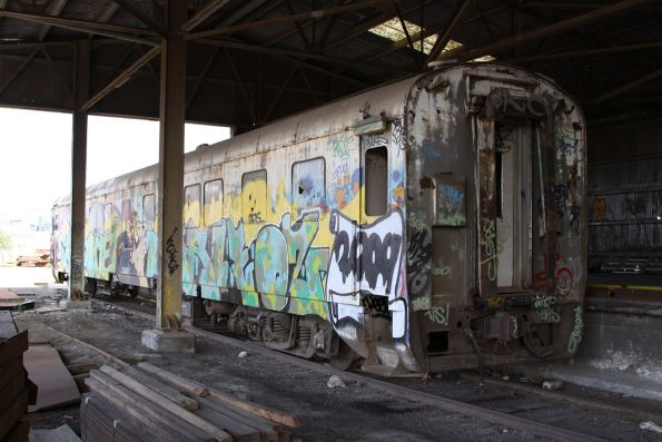 Wegmann carriage OWA91 stored under the old Cement Shed at the Melbourne Steel Terminal