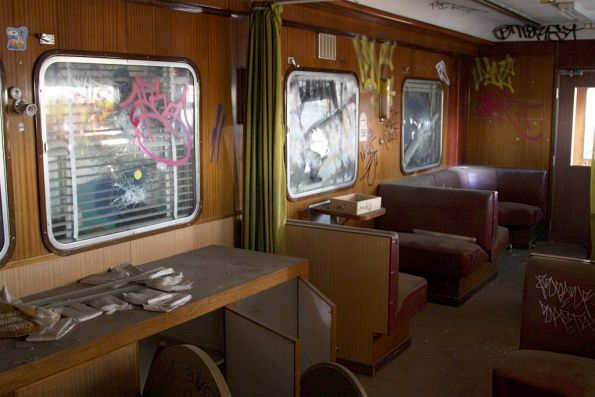 Trashed lounge area of Wegmann carriage OWA91