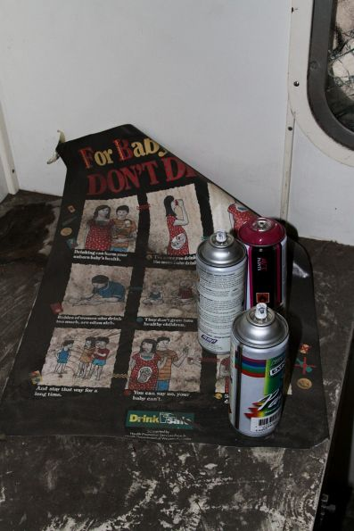 Tattered posters dating back to the carriage's use as a community health car