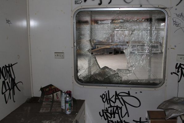 Smashed windows inside one of the compartments