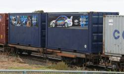 Pair of 20 foot containers decorated for the Orrcon Racing V8 Supercar team