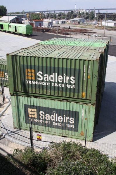Front view of Sadleirs 20 foot RCSB containers with roof hatches