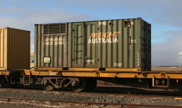 Containerised genset unit PP05 used on the Mildura service to power refrigerated containers