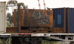 Containerised genset unit on the AM6/MA6 P&O train, the wagon is QQEY 4361P