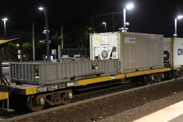 Half height container with genset onboard, onboard wagon VQOF 129W on the Warrnambool freight
