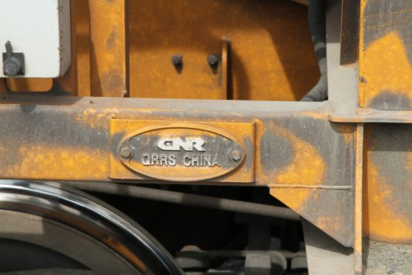 'CRN QRRS China' builders plate affixed to a PHAY hopper wagon