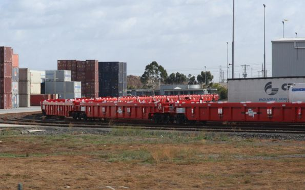 New SCT well wagons - coded PWWY - stored at the CRT Altona depot