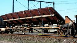 RXVY 7171 tilting sheet steel wagon westbound for Adelaide