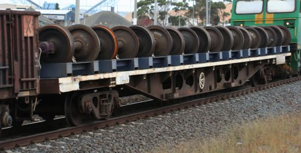 RZXY wagon westbound for Adelaide with worn wheelsets
