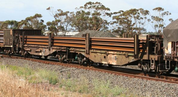 Paired wagons RKAX 5A loaded with rail eastbound for Melbourne