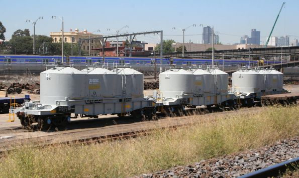 Refurbished VPCX cement hoppers on the SG at the Creek Sidings, bound for NSW