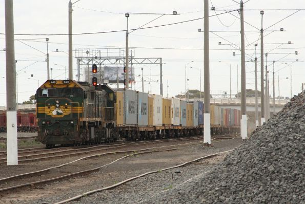 X49 and P20 wait at North Geelong for the late path to Warrnambool