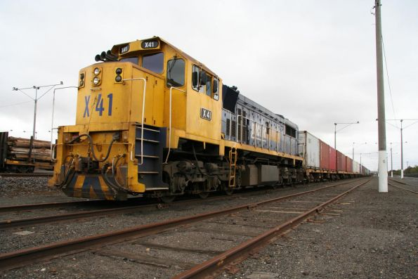 X41 on the Warrnambool freight, stabled at North Geelong Yard, due to an occupation