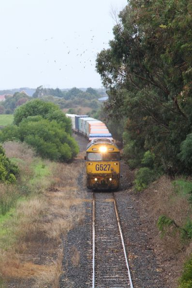 Down train about to pass under McMeekin Road in Warrnambool