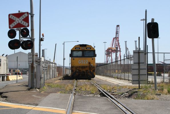 G522 stabled at Swanston Dock East with the down Warrnambool freight