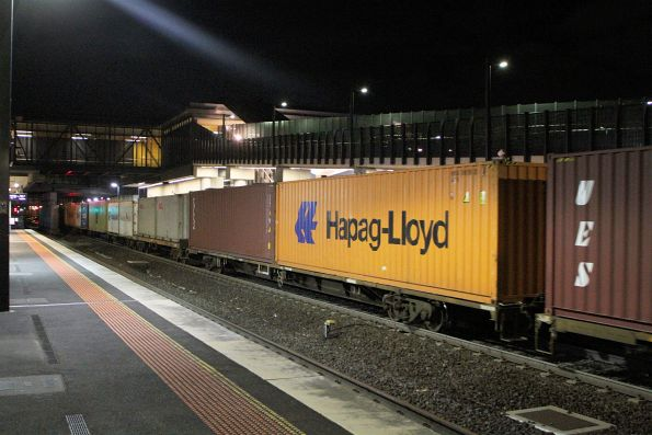 Low profile VQAW and VQDW container wagons on the train to allow higher containers through the Geelong Tunnel
