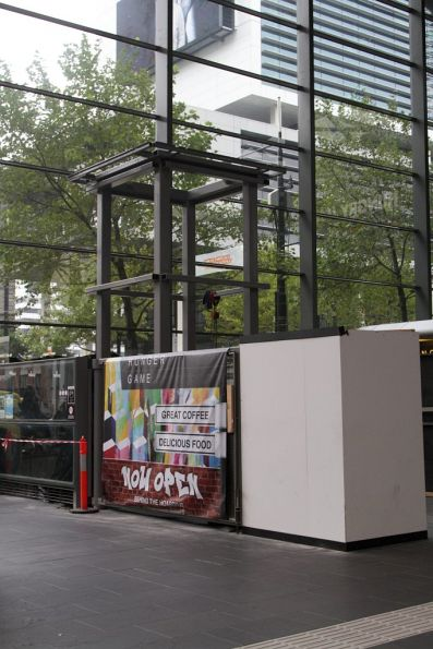 Stand in place at the Collins Street entrance for the 'Water Tower Clock' to be installed atop