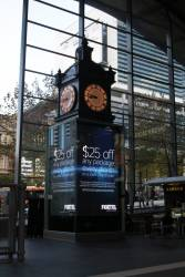 Foxtel advertising now featuring on the Water Tower Clock LCD screen