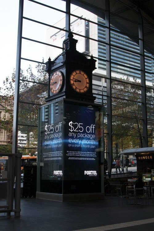 Foxtel adverting now featuring on the Water Tower Clock LCD screen