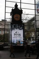 Video screen beneath the Water Tower clock now includes a short historical video among the loop of advertisements