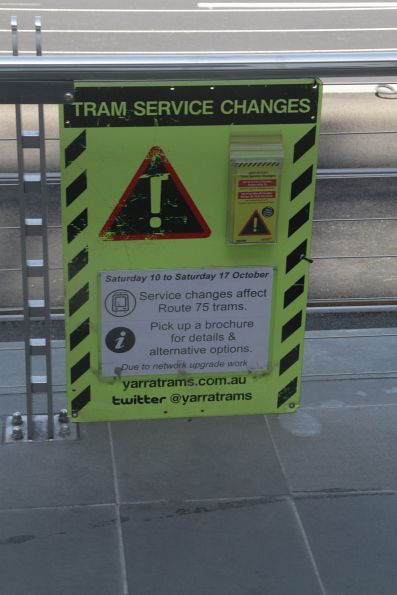 Tram stop notice informing passengers of upcoming tram works on Wellington Parade