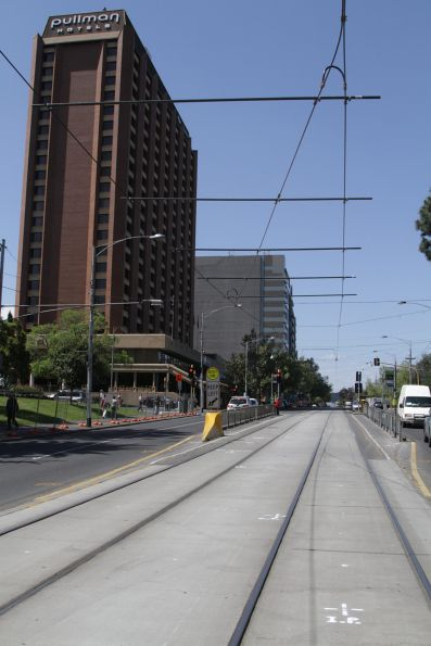 Temporary overhead installed on Wellington Parade, ready for the installation of a portable crossover